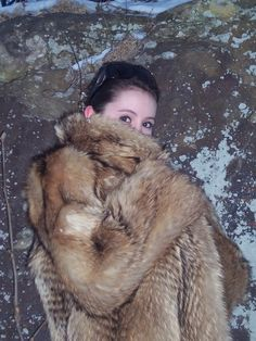Peek-a-boo. Red Fox Fur Coat.