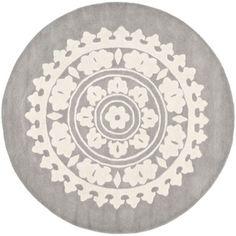 Handmade Soho Chrono Grey/ Ivory New Zealand Wool Rug (6' Round) | Overstock.com $199