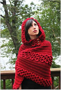 Crocodile Stitch Hooded Cape red riding hood, crocodiles, capes, stitch hood, crocodil stitch, hood cape, crochet patterns, stitches, cape pattern