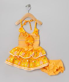 Love this Orange Flower Ruffle Halter Dress & Diaper Cover - Infant by Lele for Kids on #zulily! #zulilyfinds