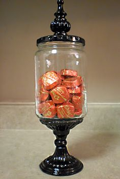 Fun and easy candy dish from a pickle jar.