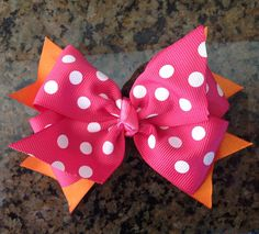 Hot Pink/Orange Polka Dot  Boutique Bow by TheTinyCloset on Etsy, $6.00