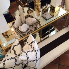 Mirrored #console #striped #bench and #toss #pillows at #PalmBeach #Mecox #interiordesign #MecoxGardens #furniture #shopping #home #decor #design #room #designidea #vintage #antiques #garden