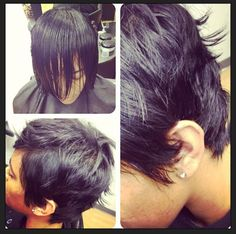 Razor haircut / pixie haircut /Black Women Hairstyles by Salon Pk Jacksonville Florida. Specializing in short haircuts , hair color , extensions, natural hair , custom wigs and more .