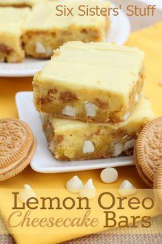 Lemon Oreo Cheesecake Bars #food #yummy #delicious