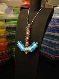 Minecraft Bead Sprite Necklace - Diamond Pickaxe. $5.00, via Etsy.
