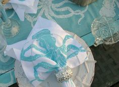 Aqua Octopus Napkins - set of 4