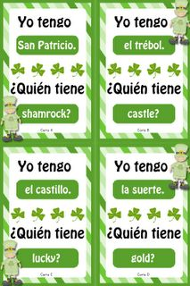 """""""I Have, Who Has"""" Spanish St. Patrick's Day Vocabulary Game. I could do something similar with vocab words when students are learning tener"""