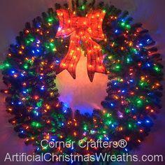5 Foot Color Changing L.E.D. Prelit Christmas Wreath #ArtificialChristmasWreaths #ChristmasWreaths #Wreaths #PrelitWreaths #LargeWreaths #colorchangingwreaths