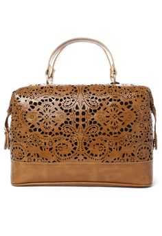 Chicwish Cut Out Satchel Bag in Camel