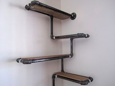 Pipe and Reclaimed Wood Wall Shelf, Custom Pipe Shelving Unit Made To Order, Corner Shelf, Reclaimed Wood and Black or Galvanized Iron Pipe on Etsy, $366.05