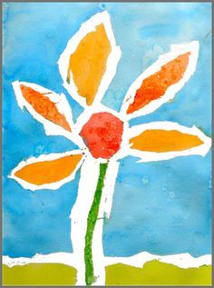 Tape resist flower painting.
