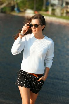 Sweater and scallop shorts