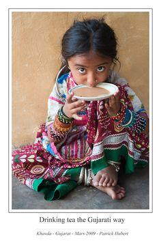 Drinking tea the Gujarati way.