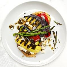 Open-Face Grilled Vegetable Sandwich | MyRecipes.com #grain #vegetable #myplate