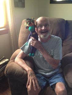 "From SMAC!-er Katie Knapp Schubert:  ""My Dad and NoMo."" Fighting #colon cancer.  Give someone you love with/impacted by #cancer a SMAC! monkey for some love & comfort through their journey. Order here: smacmonkey.com/  #SMACancer #beatcancer"