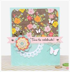 sweet card ... love the banner, lace, flower and butterflies ... oh and the baker's twine