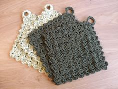 The Crazy Cloth potholders. Pattern can be found here http://cityofcrochet.blogspot.com/2006/10/crazy-cloth.html