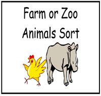 Farm or Zoo Animals Sort file folder game