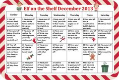 Funny Elf on the Shelf ideas: Calendar of ideas