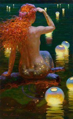 redhead mermaid, sea, artist