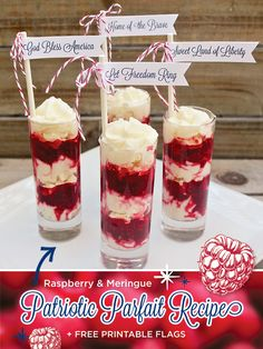 Patriotic Parfait Recipe {+ Free Printable Flags}