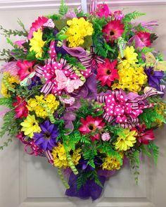 Spring / Summer Mesh Wreath on Etsy, $130.00
