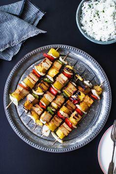 Grilled Orange Teriyaki Tofu Skewers with Aromatic Coconut Rice