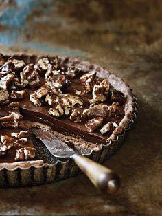 Sea-salted chocolate and pecan tart recipe