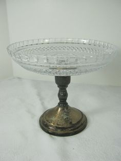 Vintage SILVERPLATE PEDESTAL w/ Glass Bowl by LavenderGardenCottag