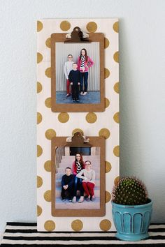 Polka Dot Clipboard Sign - easy to switch out pictures or printables or grocery list...