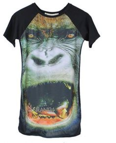 Black Animal Printed T-shirt Dress