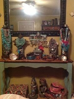 jewelry display- pretty way to display in home