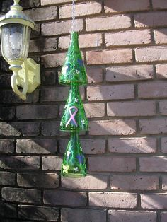 Glass+Bottle+Yard+Art | ... Chime handpainted wine bottle yard garden art recycled glass windchime