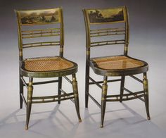 American Federal Paint-Decorated Fancy Side Chairs - Landscape Scenes Painted on the Backs - Circa 1815.