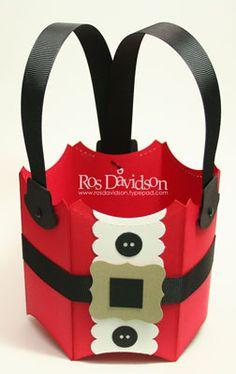 Santa basket pillow box, gift boxes, basket, planter, christmas themes, box die