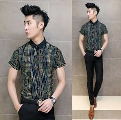 2014 Summer Shirts Asian Young Mens Fashion Unique Striped Slim Casual Shirts Wholesale Cheap Price $24.56