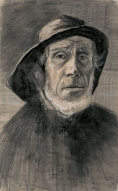 Vincent van Gogh (1853-1890), Head of a fisherman with a fringe of beard and a sou'wester, 1883. Van Gogh Museum, Amsterdam.