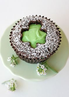 Glorious Treats » Shamrock Cut-Out Cupcakes chocolate cupcakes, natural foods, cupcake recipes, holiday cupcakes, st patricks day, shamrock cutout, cutout cupcak, cut outs, treat