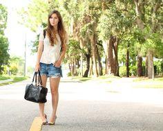 peplum + distressed cut offs + bold heel = perfect #summerchic style ! <3 this!