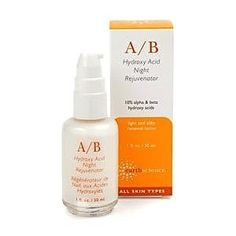 EARTH SCIENCE A/B Hydroxy Acid Night Rejuvenator 1 oz $19.95  A/B Rejuvenator is specifically for treating existing wrinkles. A high concentration of Alpha and Beta Hydroxy Acids rejuvenate skin without irritation. This is accomplished by time-releasing the acids in a mixture of anti-irritant Polyprepolymer-2 and by encapsulating them in Liposomes for complete delivery into the deeper skin layers. The slower diffusion creates much less irritation and better penetration of the acids.