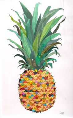Love this pineapple illustration. Funky and colorful and  perfect!