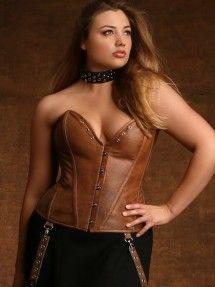 Plus Size Jules Steel Boned Leather Corset, Tan