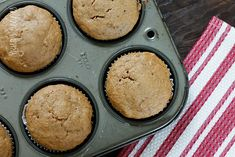 Low Fat Peanut Butter Banana Muffins - I put a little extra peanut butter in the center of each muffin.