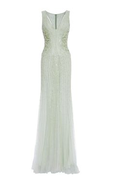 MONIQUE LHUILLIER Mint Embroidered Tulle V-Neck Gown