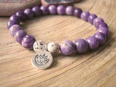 Sugilite Yoga Bracelet - Thai Silver Lotus Charm Mala Beads by Merkaba Warrior