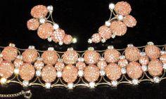 Kramer RARE Pink Net Sparkling Ice Rhinestone Bracelet Earring Set | eBay