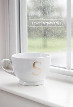 DIY Anthropologie Monogram Mug   cladandcloth.com 8 copy
