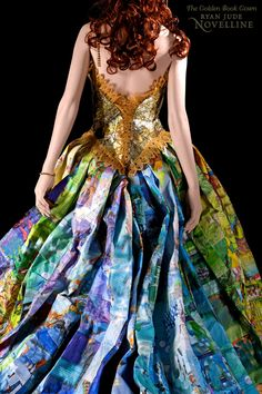Storybook gown constructed entirely out of recycled and discarded children's Golden Books. Designer Ryan Novelline created the bodice from the golden spines of these classic children's books and sewed together the skirt from their illustrated pages.