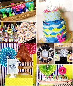 cake, gender reveal shower, color, food, parti idea, kara parti, babi shower, baby showers, anchor